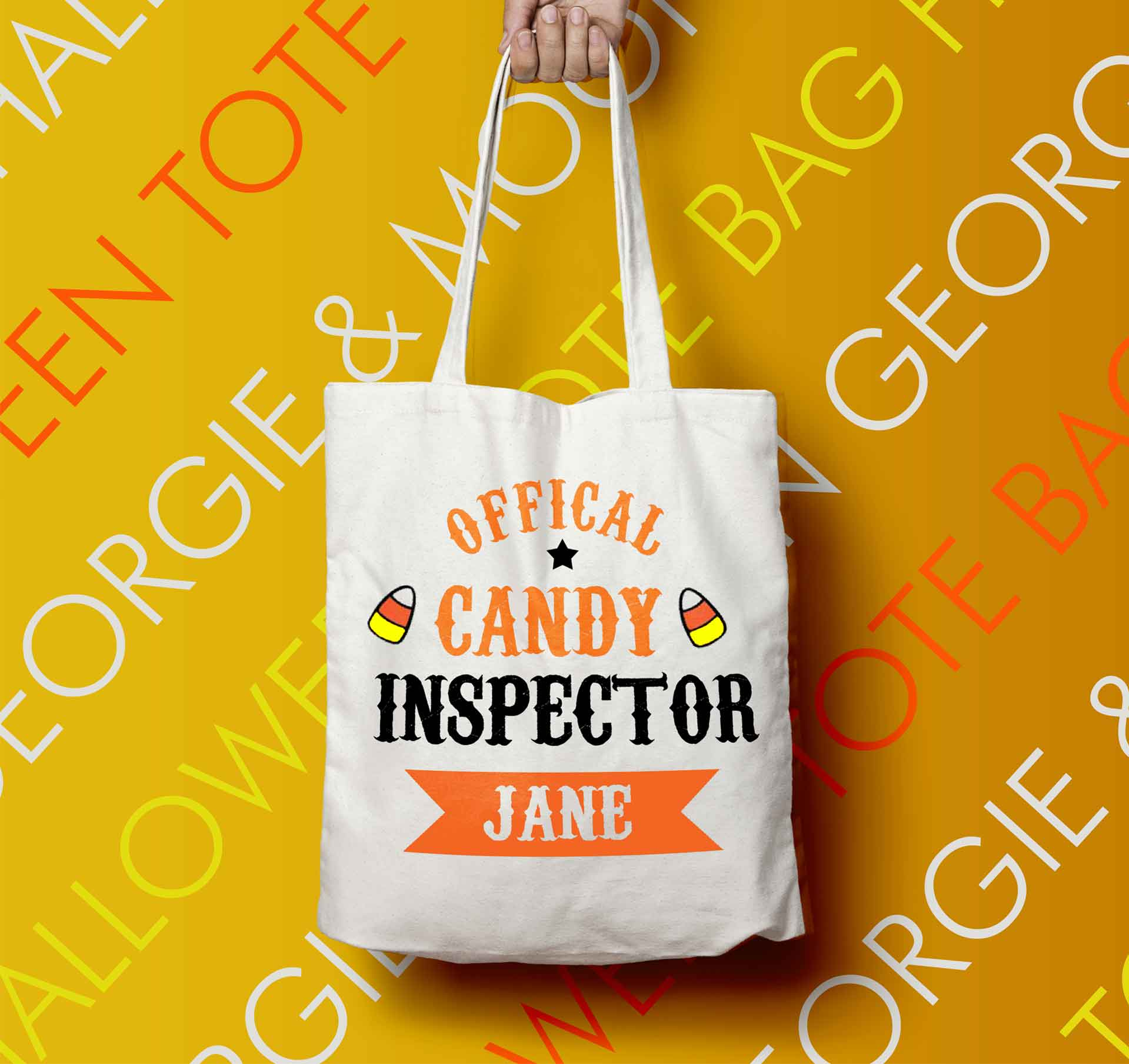 PERSONALISED HALLOWEEN TOTE BAG OFFICIAL CANDY INSPECTOR - Georgie & Moon