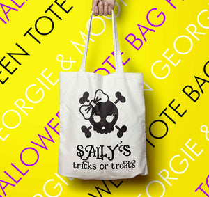 PERSONALISED HALLOWEEN TOTE BAG TRICKS OR TREATS - Georgie & Moon