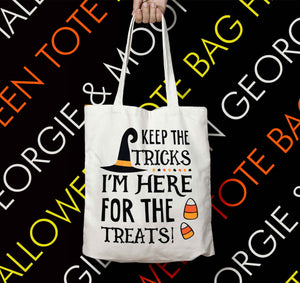 PERSONALISED HALLOWEEN TOTE BAG I'M HERE FOR THE TREATS - Georgie & Moon