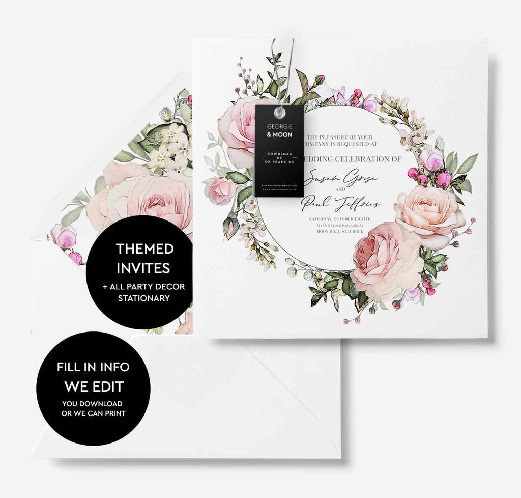 FLORAL WEDDING INVITATION - Susan - Georgie & Moon