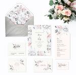 FLORAL WEDDING INVITATION SET - GREY & PINK - Georgie & Moon