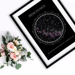 personalised star map with black frame
