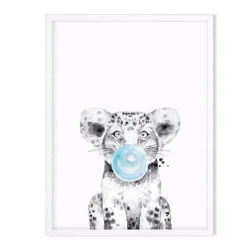 lion wild animal art print blue - baby room decor
