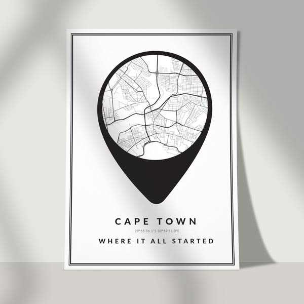 mapped art poster print - city road map art poster LOCATION ICON