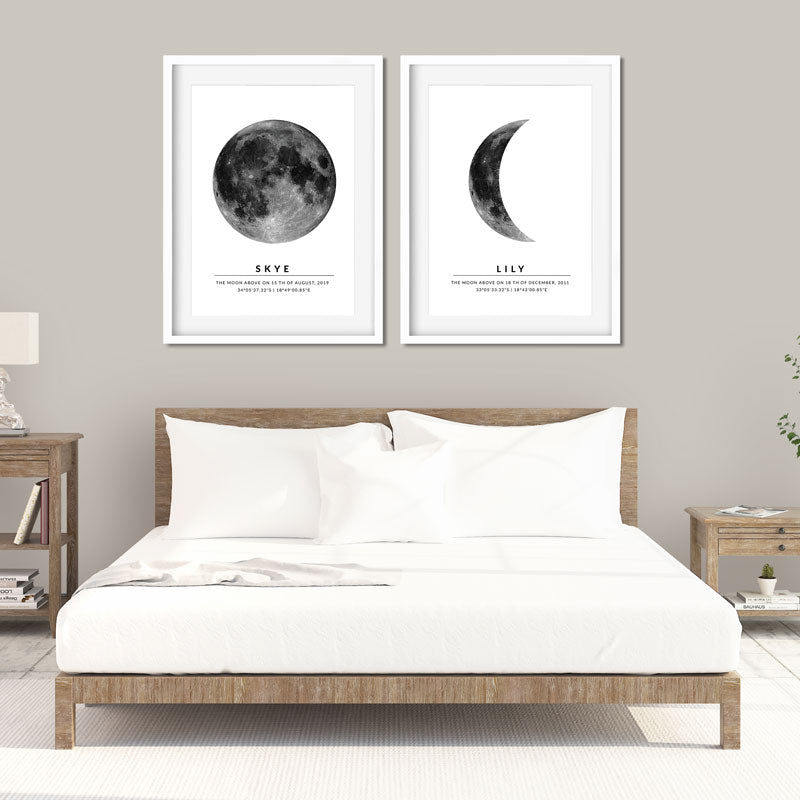 moon map pair on wall