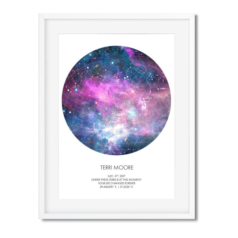 PERSONALISED STAR MAP - UNDER THESE STARS ( Galaxy ) - Georgie & Moon