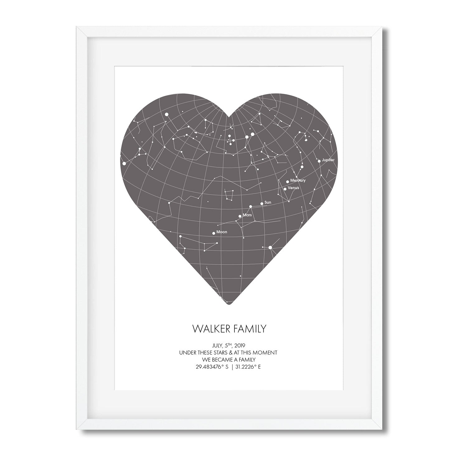PERSONALISED STAR MAP - UNDER THESE STARS ( Heart ) - Georgie & Moon
