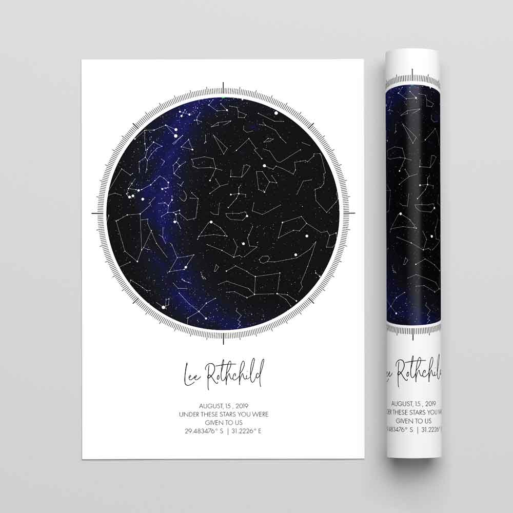 STAR MAP PERSONALISED PRINT - SMP6 - Georgie & Moon
