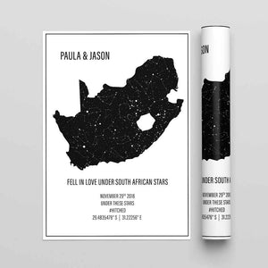 STAR MAP PERSONALISED PRINT - Star Map South Africa - Georgie & Moon