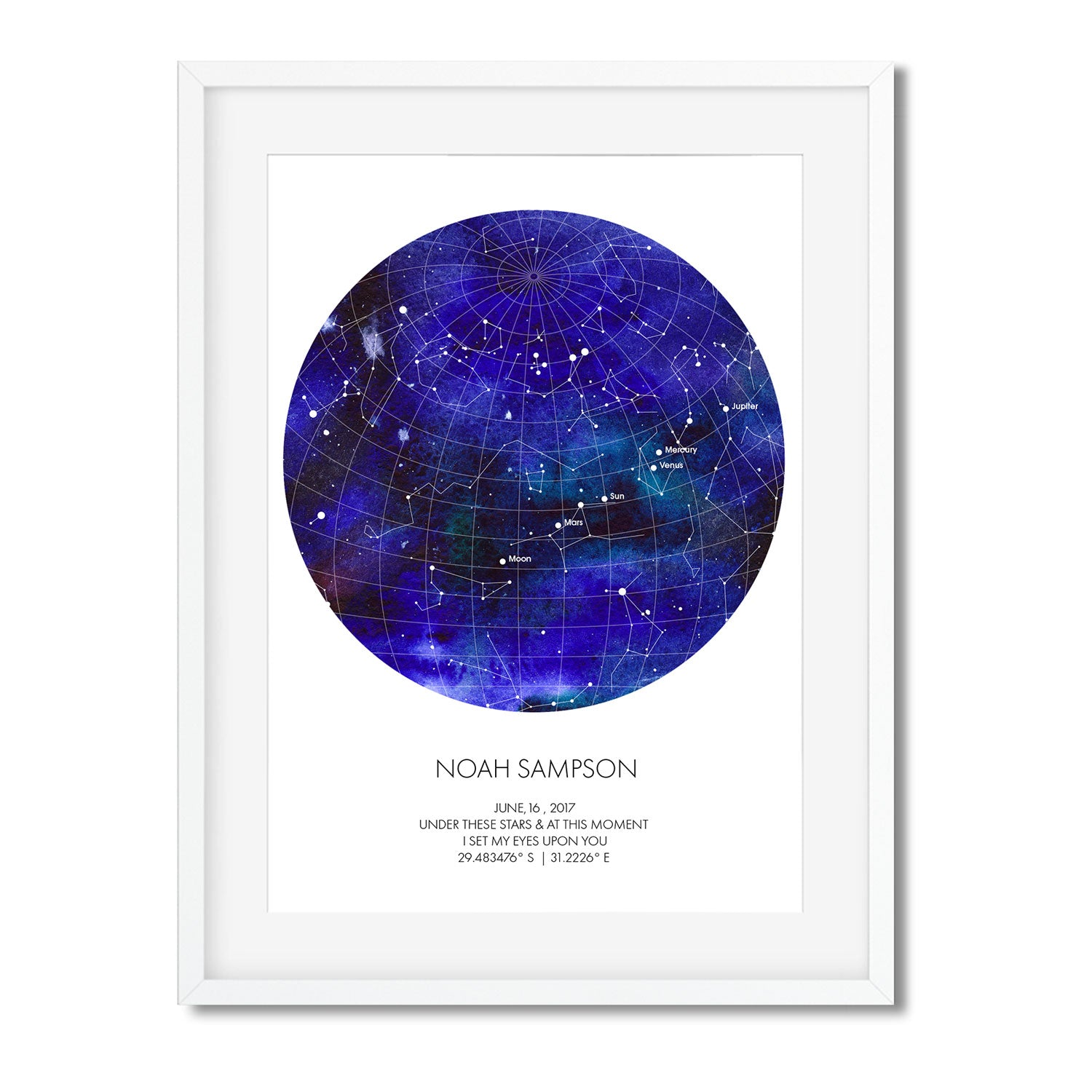 PERSONALISED STAR MAP - UNDER THESE STARS ( Water colour ) - Georgie & Moon