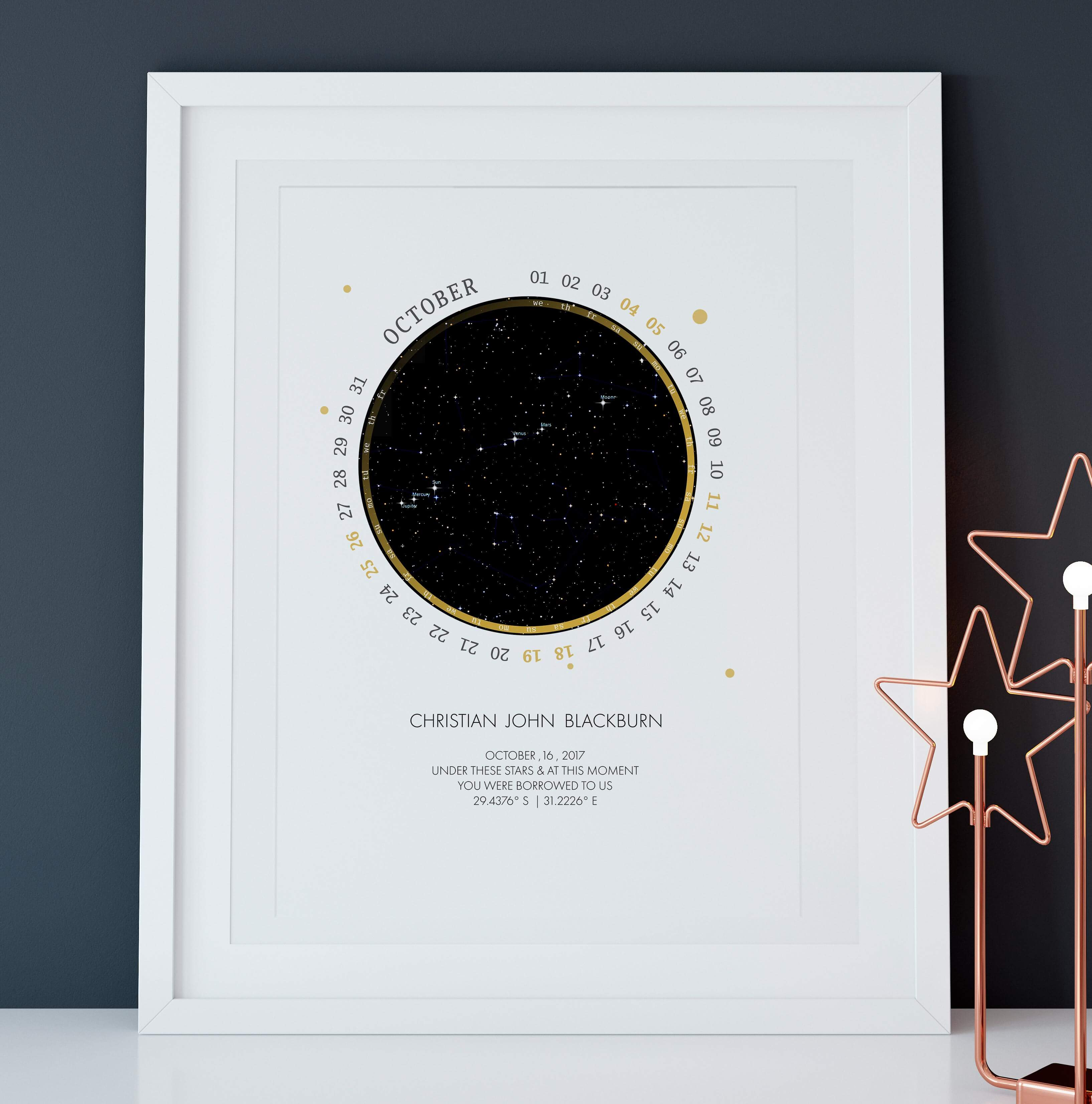 PERSONALISED STAR MAP - UNDER THESE STARS (with date circle) - Georgie & Moon