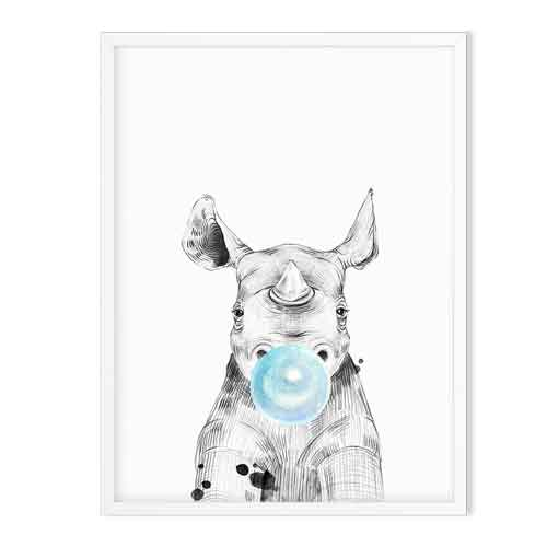 rhino wild animal art print blue - baby room decor