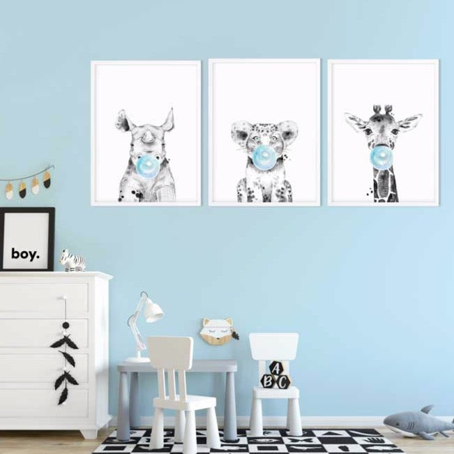 wild animal art print blue - baby room decor