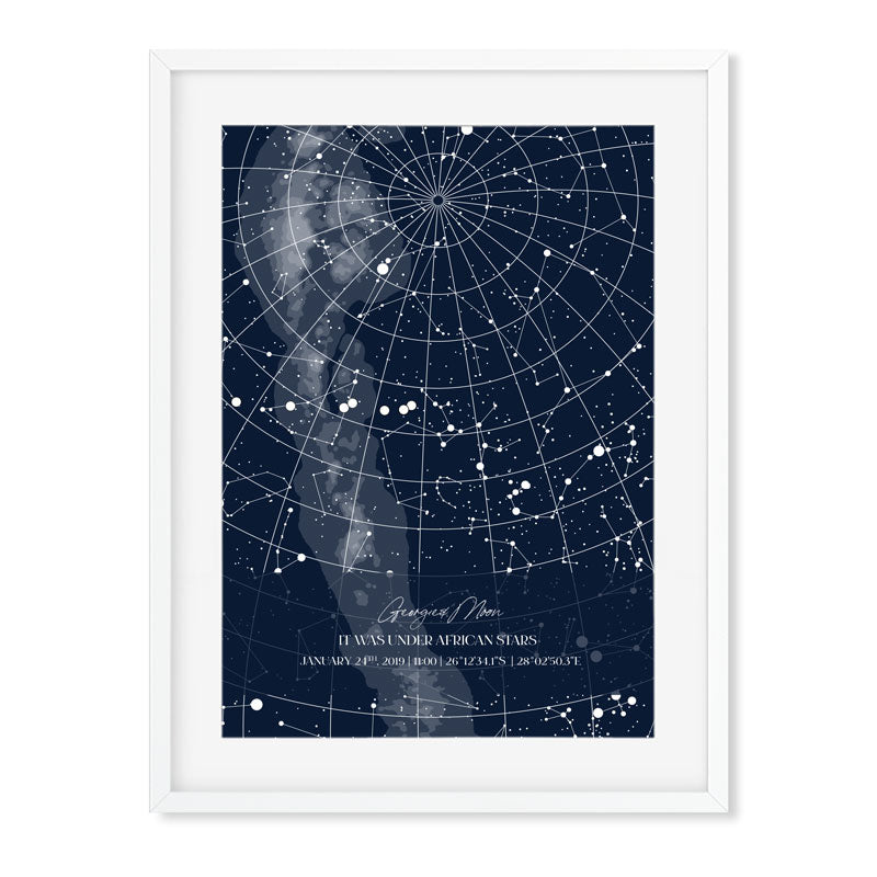 star map blue in a white frame full page made in south Africa