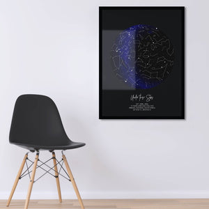 Black Framed star map with constellation lines on wall