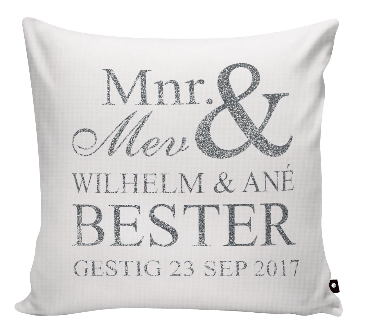 SCATTER PILLOW MR & MRS WITH DATE AND NAMES - Georgie & Moon