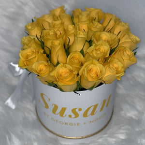 PERSONALISED FLOWER BOXES - Yellow Roses - Georgie & Moon