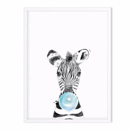 zebra wild animal art print blue - baby room decor