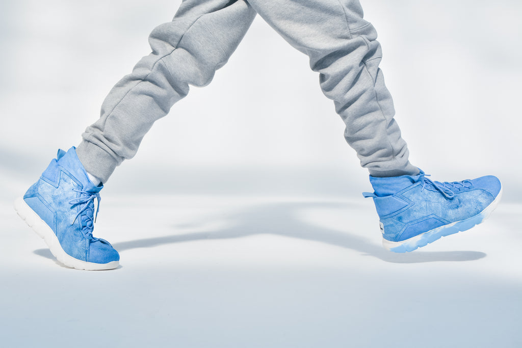 Designer Sneakers High Blue Leather ⎜ LE FLOW Paris