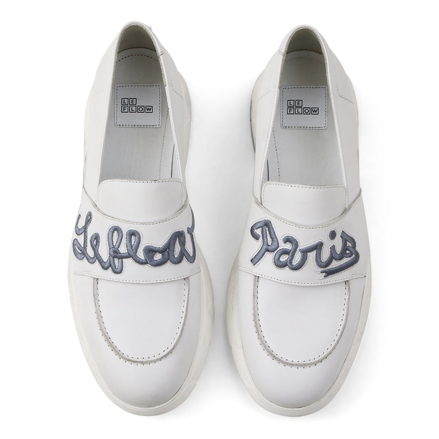 6423070d3892 Slip-On Loafers White Leather Designer Shoes⎜ LE FLOW Paris. Logo Optic