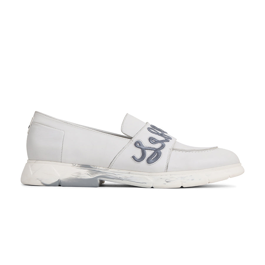 Slip-On Loafers White Leather Designer Shoes⎜ LE FLOW Paris