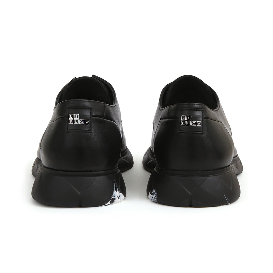 Derby Designer Shoe in Black Leather ⎜ LE FLOW Paris