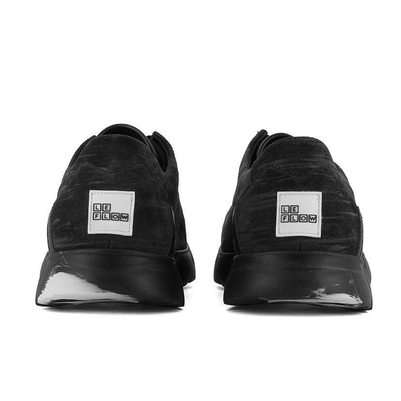 Low Designer Sneaker in Black Leather⎜LE FLOW Paris