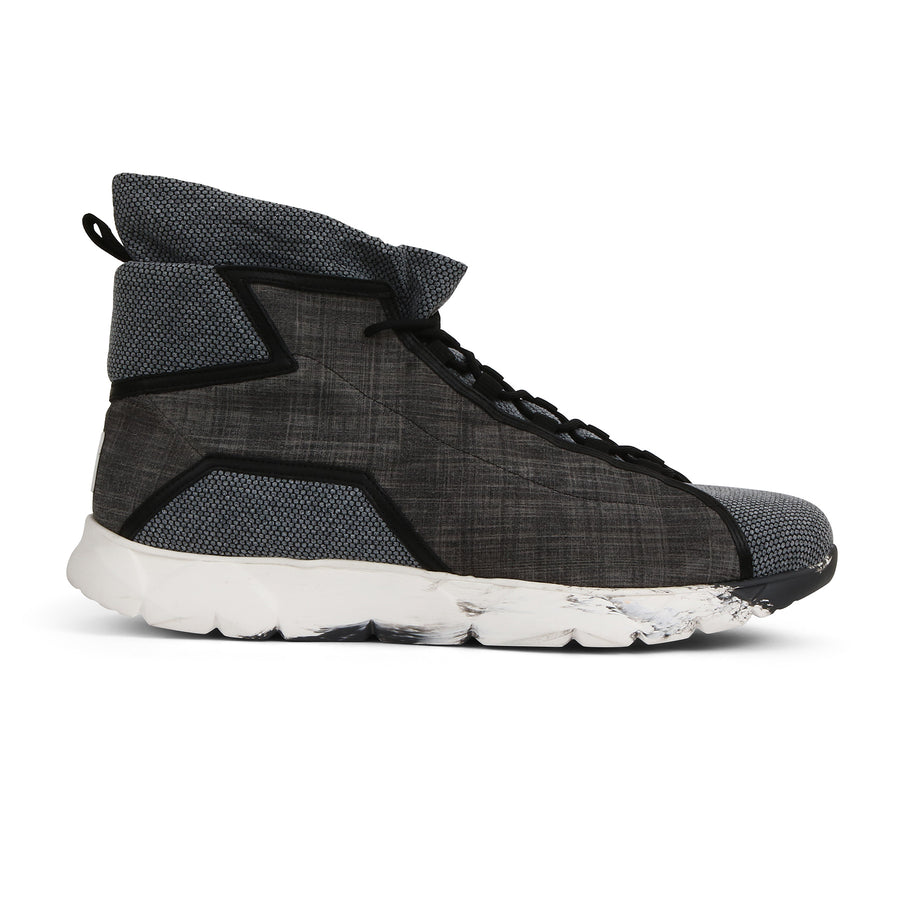 High Designer Sneakers in Cotton and Suede Calfskin⎜LE FLOW Paris