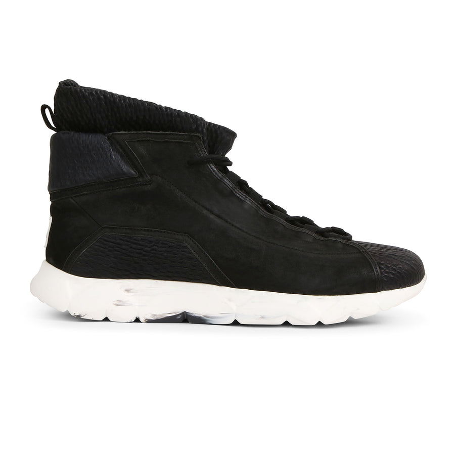 High Designer Sneakers in Black Matte Leather⎜LE FLOW Paris