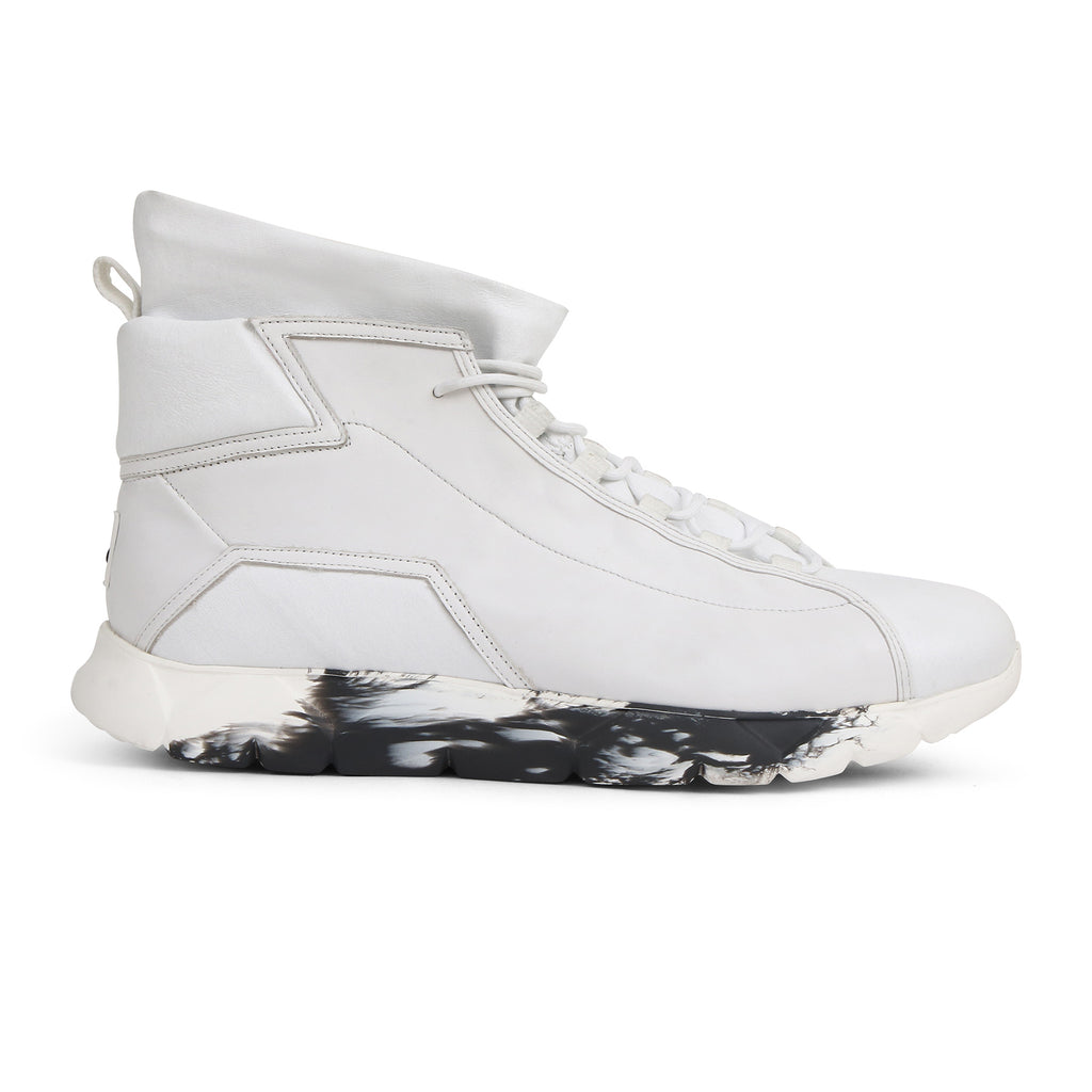 High Designer Sneakers in White Leather⎜LE FLOW Paris