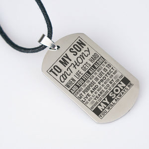 "Custom Dog Tag Necklace ""TO MY SON"" Family Gifts - necklace 