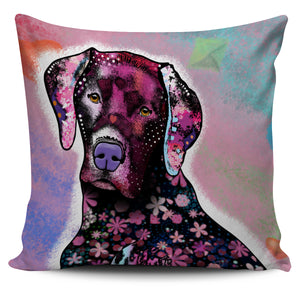 Pink Dog Pillow Cover