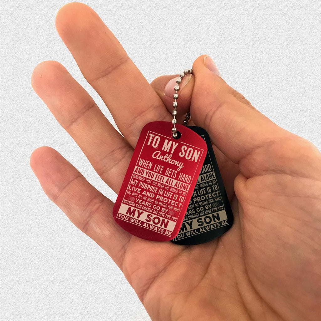 "Custom Dog Tag Keychain ""TO MY SON"" Family Gifts - dogtag 