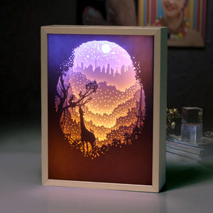 Wonderful Handmade Night Deer and Stars 3D LightBox Gift