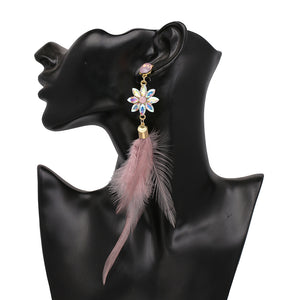 Bohemia Charms Womens Vintage Flower Crystal Dangle Earrings -  | Ziloda