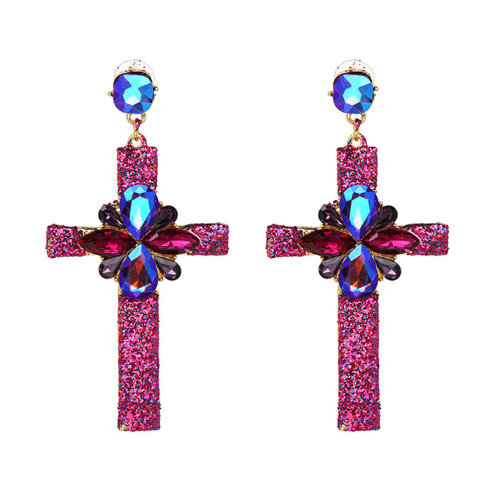 Crystal Multicolor Special Bohemia Big long CROSS EARRINGS