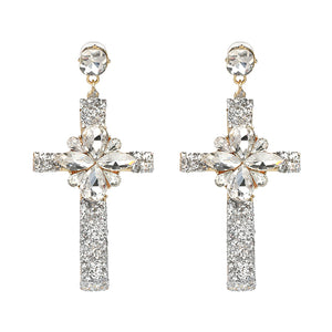 Crystal Multicolor Special Bohemia Big long CROSS EARRINGS -  | Ziloda