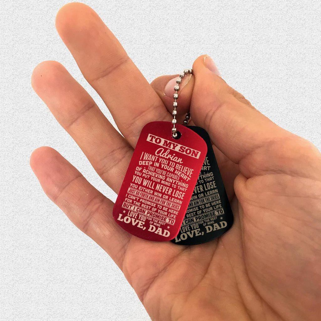 "Custom Dog Tag Keychain ""TO MY SON"" Family Gifts (Ver. 2) - dogtag 