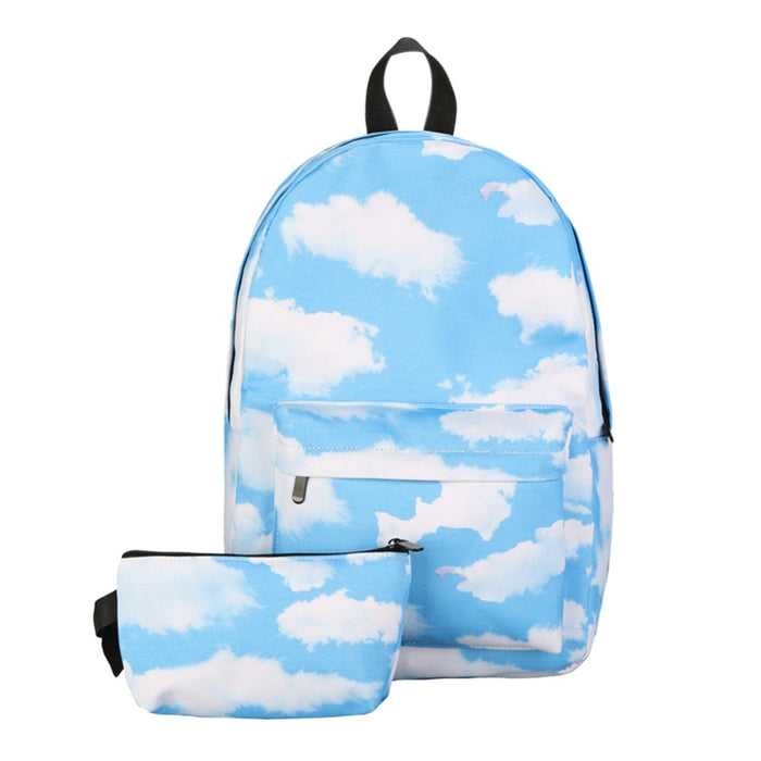 2Pcs 3D Preppy Printing Backpack