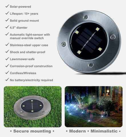Bell + Howell Disk Light Solar Powered Lights in Stainless Steel (Set of 4) - Outdoor Lights | Ziloda