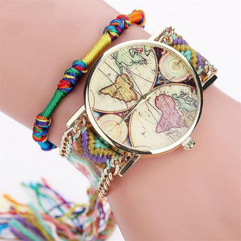 Braided World Map Ladies Watch - Ladies Watch | Ziloda