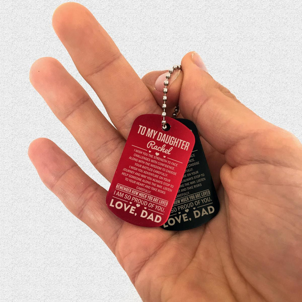 "Custom Dog Tag Keychain ""TO MY DAUGHTER"" Family Gifts - dogtag 
