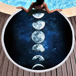 Moon Round Beach Towel - Round Beach Towel | Ziloda
