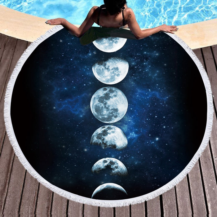 Moon Round Beach Towel