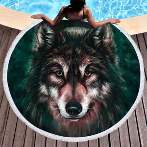Sunblock Wolf Round Beach Towel - Round Beach Towel | Ziloda