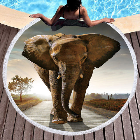Microfiber Round Beach Towel Large Summer Towel Toalla Cover Up Elephant Tassel Tapestry - Round Beach Towel | Ziloda