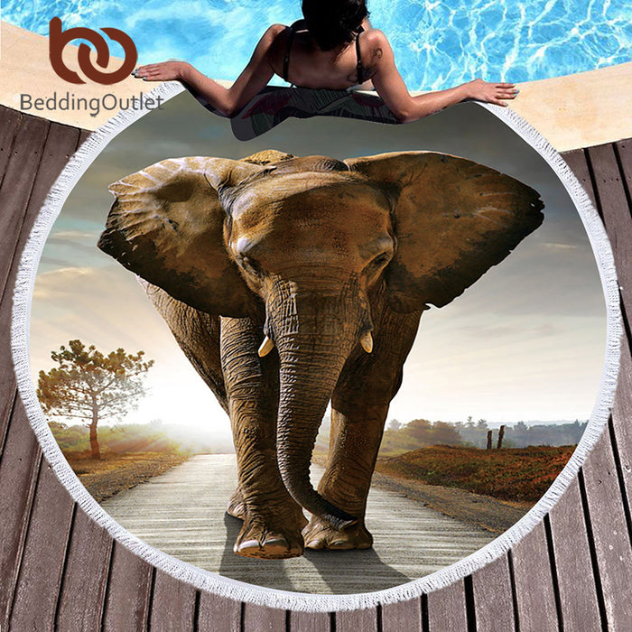Microfiber Round Beach Towel Large Summer Towel Toalla Cover Up Elephant Tassel Tapestry