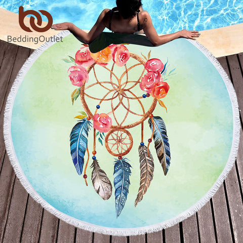 BeddingOutlet Dreamcatcher Round Beach Towel With Tassel Tapestry for Woman Microfiber Toalla Cover Up Floral Blanket Yoga Mat - Round Beach Towel | Ziloda