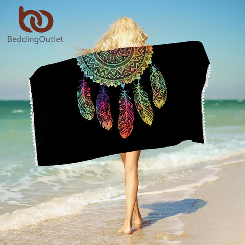 Dreamcatcher Towel With Tassels For Bathroom Microfiber Mandala Beach Towel Boho Rectangle Woman Blanket 75x150cm - Beach Towel | Ziloda