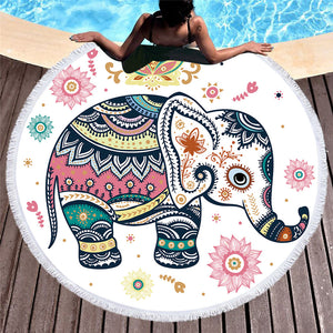 BeddingOutlet Floral Boho Round Beach Towel Indian Elephant Tassel Tapestry Yoga Mat Colorful Printed Toalla Blanket 150cm - Round Beach Towel | Ziloda